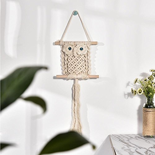 big-time Macrame Wall Hanging Tapestry, Hand Woven Cotton Rope Tapestry Owl Pattern Tapestry Ornament Door Hanging Wall Decoration ()