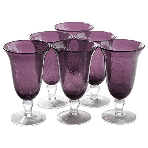 - Artland Iris Seeded Plum 18 Ounce Footed Iced Tea Glass, Set of 6