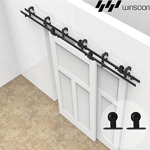- WINSOON T-Formed Sliding Bypass Barn Wood Door Hardware 6.6FT Track Kit 5FT-16FT New Style System Wall Mount Bracket Fit Double Wooden Doors (6.6FT)