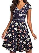 YATHON Women's Elegant Floral Lace Embroidery Flared A-Line Swing Casual Party Cocktail Dresses