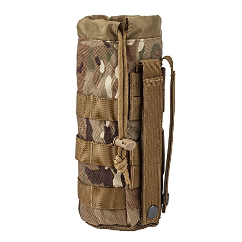 MILITARY UNIFORMS Outdoor Gear Mesh Flask Bag Drawstring Water Bottle Pouch Molle Water Bottle Attachment ACU CP Camouflage Tactical Hiking Camping (CP)