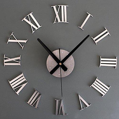 Fashion 3D DIY Roman Numerals Wall Clock Creative Stickers Wall Clock - Clock Silver Numeral Roman