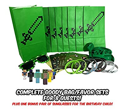 Pixel Mine Crafter Style Party Favor Sets (8-Pack) - Birthday Party Supplies Kit Includes Goody Bags, Stickers, Wristbands, Mini Character Toys, Balloons and ONE Bonus Pair of Sunglasses from Party Ninja