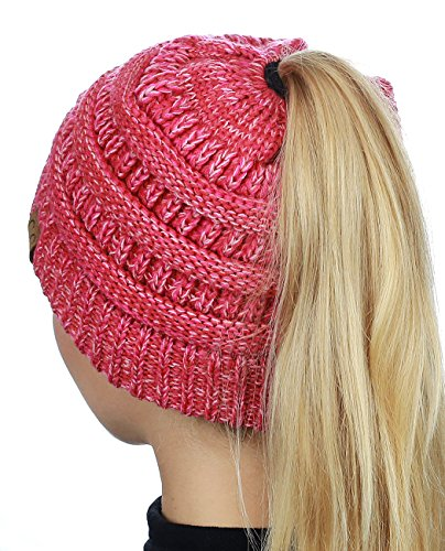 عروض C.C BeanieTail Soft Stretch Cable Knit Messy High Bun Ponytail Beanie Hat