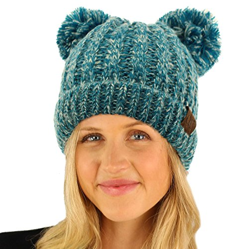 CC Winter Cute 2Pom Pom Ears 2tone Soft Warm Thick Chunky Knit Beanie Hat ()