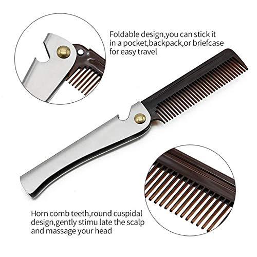 Folding Beard & Mustache Comb with Bottle Opener, Metal Pocket Comb for Men, Gift for Men