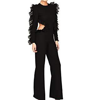 Missord Womens Autumn Winter O-Neck Long Sleeve Backless Jumpsuit