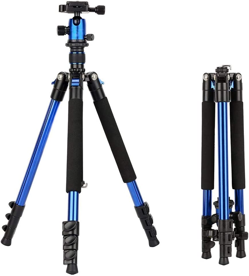 AkoMatial Portable Foldable 360 Rotary Travel Tripod Ball Pan Head Camera Stand Accessories for DSLR Camera Blue