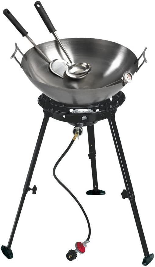 "Propane Cooker 24/"" Portable Outdoor with 18/"" Steel Wok King Kooker Cast Burner"