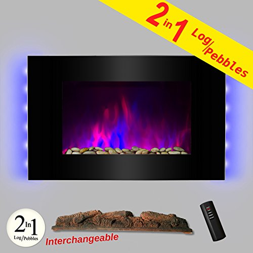 AKDY 36 inch Wall Mount Electric Fireplace Space Heater With Pebble & Log / Remote