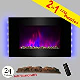 AKDY 36  LED Wall Mount Electric Fireplace Modern Space Heater Flat Tempered Glass w/Remote Control