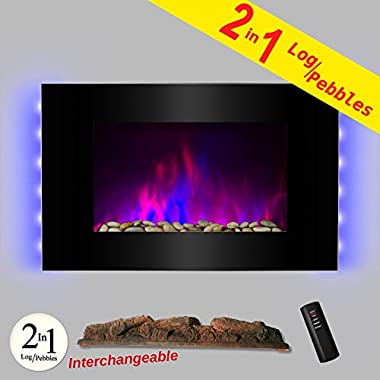 AKDY® 36  Wall Mount Type Tempered Glass 2 Setting Adjustable 1500W LED Backlight 2-in-1 Log & Pebble Interchangeable Electric Fireplace Heater Stove (Black)