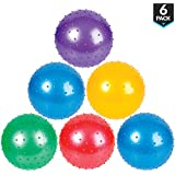 Bedwina 7 Inch Knobby Balls (Pack Of 6) In Assorted Neon Colors, Bumpy Sensory Bounce Ball For All Ages Kids, Party Favor, Pool Or Tub Toy