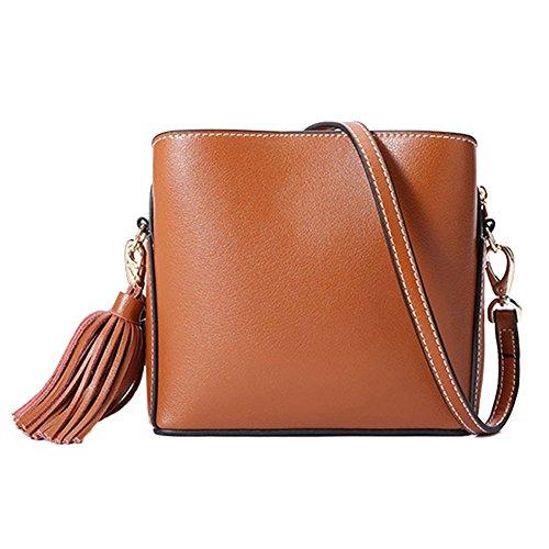 Leno Bolsos de cuero genuino moda europea y americana Simple Crossbody bolsas Casual Street Work Travel (Color : Verde oscuro) Caramel Colour