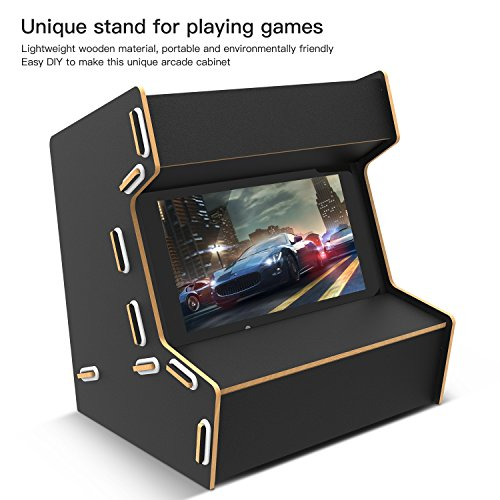 BASSTOP Arcade cabinet for Nintendo switch, DIY Handmade Wood arcade cabinet for Nintendo switch Cool Gaming Experience (Black)