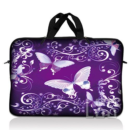 LSS 11 inch Laptop Sleeve Bag Compatible with Acer, Asus, Dell, HP, Sony, MacBook and More | Carrying Case Pouch w/Handle, Purple Butterfly