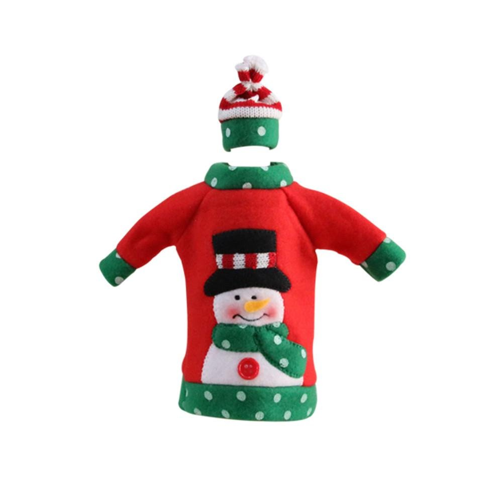 4PCS Wine Bottle Cover Santa Claus Red Wine Bags with Pretty hat Bags Set - Santa, Reindeer Party Hotel Kitchen Table Decor