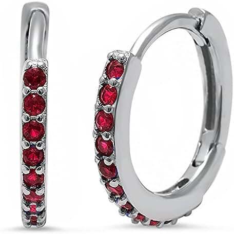 Round Hoop Simulated Ruby .925 Sterling Silver Earrings