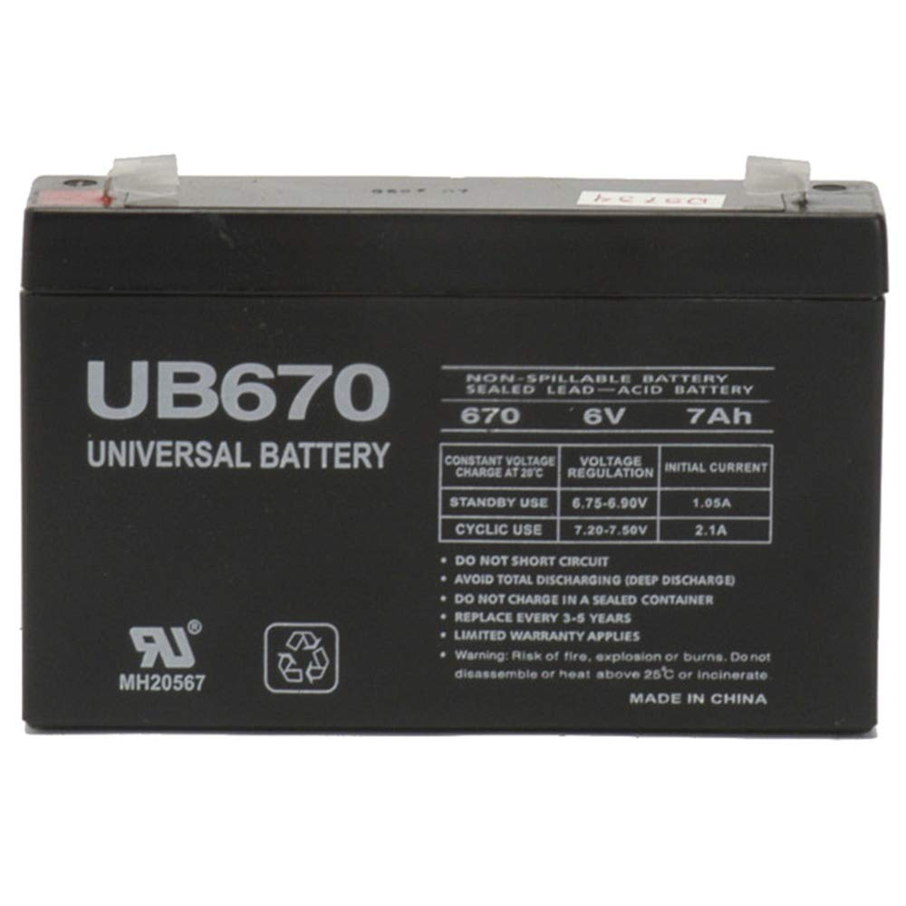 6 Volt 7 Amp Hour UB670 Sealed Lead Acid Battery Replacement with F1 Terminals by UPG D5734
