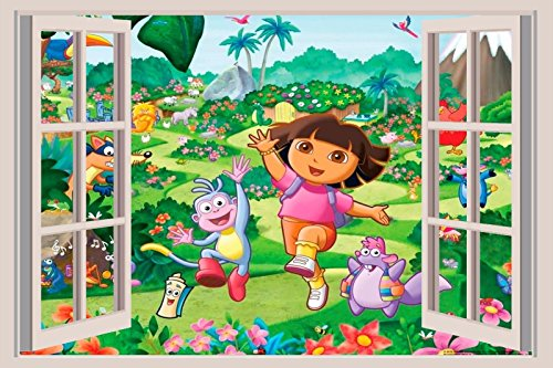 (Dora the Explorer 3D Window View Decal WALL STICKER Art Mural Diego Boots 18