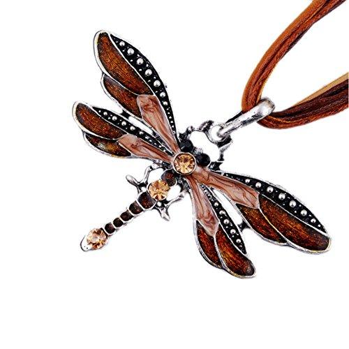 AKOAK Fashion Creative Bohemian Jewelry Ethnic Multi-layer Chain Colorful Enamel Dragonfly Pendant Necklace?Coffee?