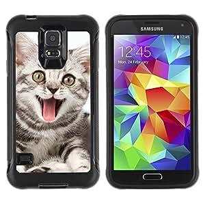 LASTONE PHONE CASE / Suave Silicona Caso Carcasa de Caucho Funda para Samsung Galaxy S5 SM-G900 / Cat Yawning Pink Tongue Grey Stripes