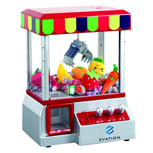 Zvation The Claw Toy Grabber Machine with Authentic Arcade Sounds, Flashing Lights & Volume Control Switch - Electronic Carnival Crane Toy Game, Animation, Includes 6 Plush Fruits for Exciting - Crane Machine Game