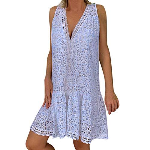 Goddessvan 2019 Women's Lace Sleeveless Casual White Party Wedding Ruffled Mini A-Line Dress