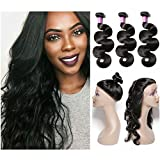 Shengqi Hair 8A Brazilian Body Wave 3 Bundles with 360 Lace Frontal Closure 100% Human Hair Extensions Hair Weave Weft Natural Color 26 26 26 + 20 For Sale