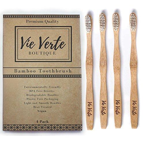 Natural Eco Friendly BAMBOO Toothbrush - Medium Bristles - Biodegradable - BPA Free Bristles