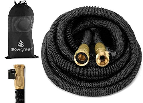 (GrowGreen 2018 Heavy Duty 100' Feet 2018 Expandable Hose Set, Strongest Garden Hose On Earth. with All Solid Brass Connector + Storage Sack)