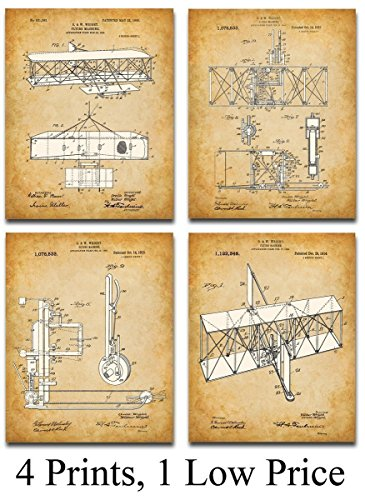 Print - Set of Four 11x14 Unframed Art Prints - Great Gift for Pilots ()