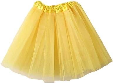 SHOBDW Mujeres Plisadas Falda de Gasa de Adultos Falda de Baile ...
