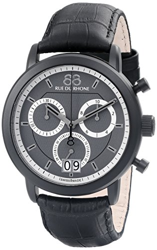 88-Rue-du-Rhone-Mens-87WA130021-Double-8-Analog-Display-Swiss-Quartz-Black-Watch