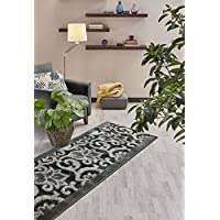 Custom Size Lily Hallway Runner Rug Slip Resistant, 26 Inch Wide x Your Choice of Length Size, Anthracite, 26 Inch X 20 feet