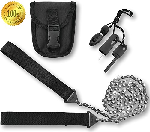 SUMPRI Camping Survival Gear 36 Inch Pocket Chainsaw & Firestarter Emergency Kit Magnesium Rod Fire Starter Handsaw For Wood & Tree Cutting Hiking, Picnic, Backpack Multitool Camp Saw
