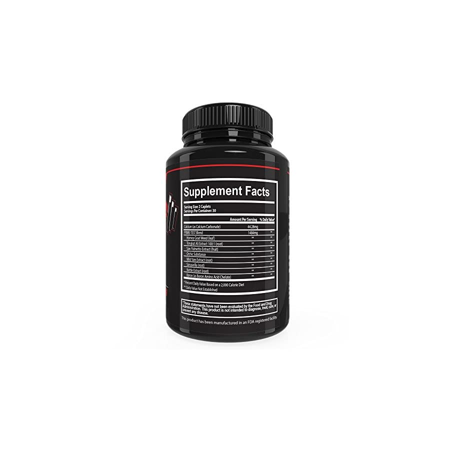 Prime Labs Men's Testosterone Booster (60 Caplets) Natural Stamina, Endurance and Strength Booster Fortifies Metabolism Promotes Healthy Weight Loss and Fat Burning