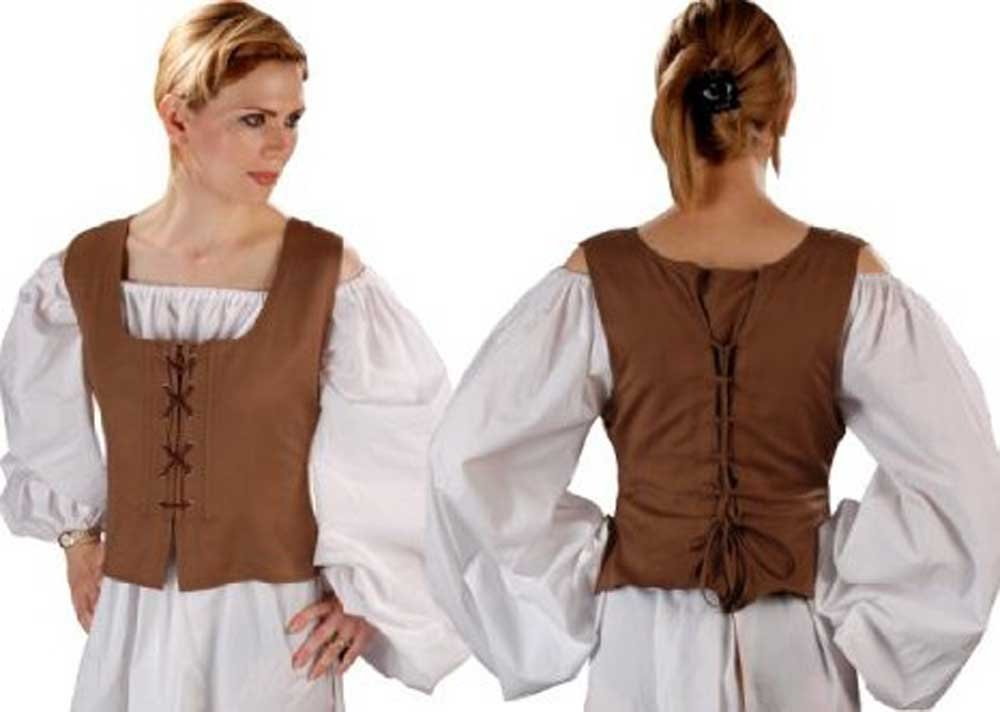 Women's Pirate Wench Brown Reversible Corset Bodice Vest - DeluxeAdultCostumes.com
