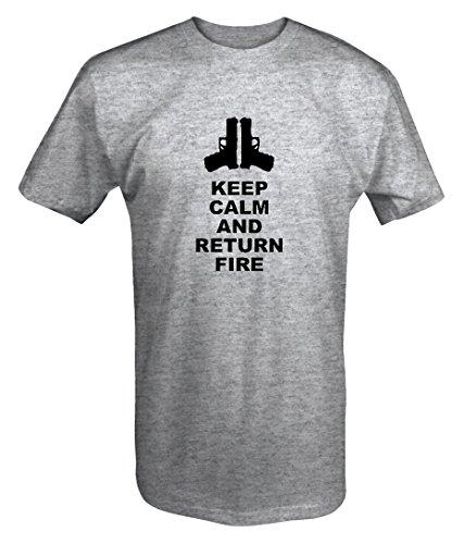 Keep Calm and Return Fire Pistols Guns T shirt - 6XL