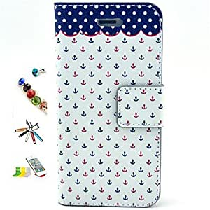 LCJ Small Anchor Pattern PU Material with Stylus Anti-Dust Plug and Stand Portfolio for iPhone 5/5S