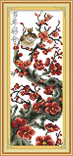 LovetheFamily クロスステッチキット DIY 手作り刺繍キット 正確な図柄印刷クロスステッチ 家庭刺繍装飾品 11CT ( インチ当たり11個の小さな格子)中程度の格子 刺しゅうキット フレームがない - 20×42 cm 梅の花