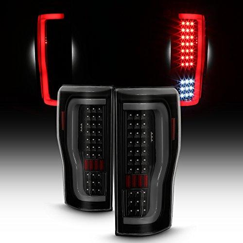(For 2017-18 Ford F250/F350 Full LED Daytime Running Lamp Bar Tail Lights Black Housing Smoked Lens Set)