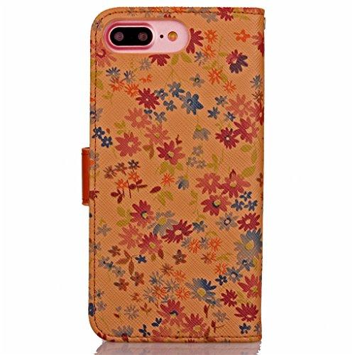 Trumpshop Smartphone Carcasa Funda Protección para Apple iPhone 7 Plus 5.5 (Serie flores) + Marrón + PU Cuero Caja Protector Billetera con Cierre magnético la Ranura la Tarjeta Marrón claro