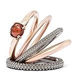 Stackable Black & 14K Rose Gold Plated Sterling Silver Garnet Ring Set