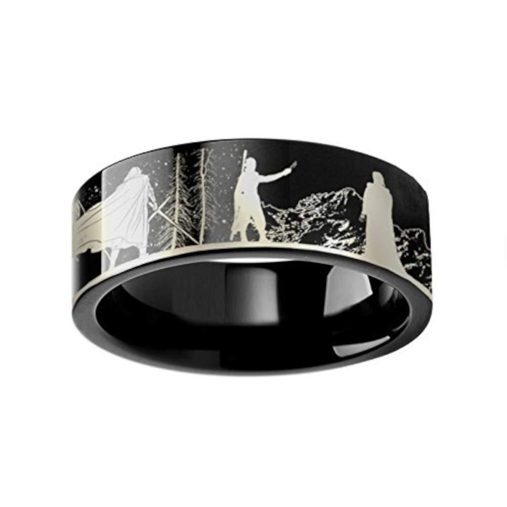 Lightweight Titanium Comfort Fit Thorsten Rings Star Wars| Titanium Rings for Men Force Awakens Scene Jakku Luke Skywalker Rey Kylo Ren Scene Tungsten Engraved Ring 4mm 6mm 8mm 10mm 12mm