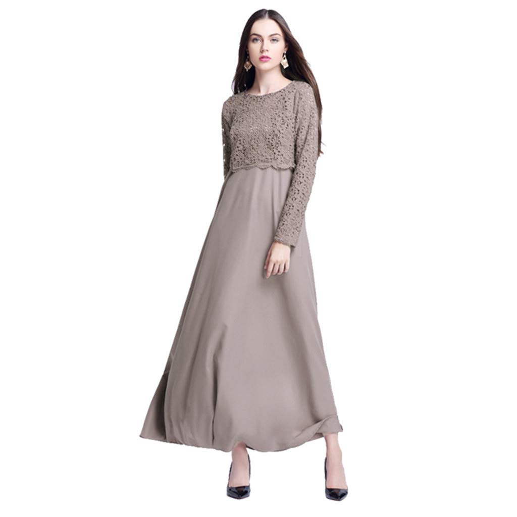 Clearance!Women Elegant Lace Maxi Dress Lady Cocktail Long Sleeve Muslim Kaftan Abaya Fake 2pcs Skirt Casual Summer Dress