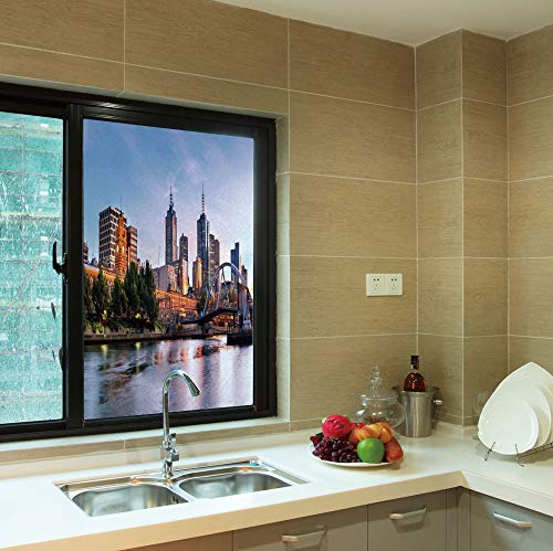 YOLIYANA Frosted Window Film,City,for Shop Restaurant Home,Early Morning Scenery in Melbourne Australia Famous Yarra,24''x36'' (Best Shops In Melbourne)