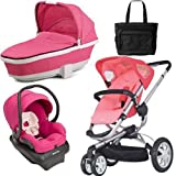 Quinny CV155BFXKT3 Buzz 3 Travel System and Tukk Bassinet in Pink with Diaper Bag