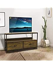 2 Drawer TV Stand with Shelves - LINKLIFE Fabric Closet Storage, Metal Frame, Wooden Top Dresser for Living Room, Bedroom, Hallway, Entryway, Closets & Nursery (Brown)