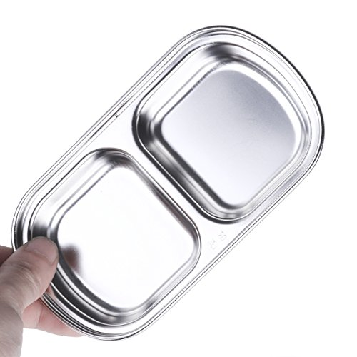 Freebily Glazed Stainless Steel Dipping Bowl Sauce Dish Snack Tray Condiment Relish Dip Bowls 2-Grid One Size by Freebily (Image #2)
